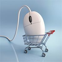 Mouse in the shopping cart. Concept of internet shopping. Stock Photo - Royalty-Freenull, Code: 400-06416680