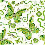 White and green seamless floral pattern with vintage butterflies (vector) Stock Photo - Royalty-Free, Artist: OlgaDrozd                     , Code: 400-06417484