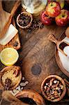 Baking concept background. Border design cooking,Christmas and winter  cookies ingredients.Baking pastry and cookies: apples, spices, sugar, eggs on wood Stock Photo - Royalty-Free, Artist: mythja                        , Code: 400-06418660