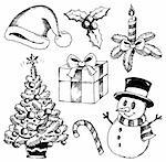 Christmas stylized drawings 1 - vector illustration. Stock Photo - Royalty-Free, Artist: clairev                       , Code: 400-06419906