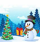 Winter snowman theme image 5 - vector illustration. Stock Photo - Royalty-Free, Artist: clairev                       , Code: 400-06419954