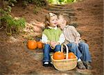Adorable Brother and Sister Children Sitting on Wood Steps with Pumpkins Whispering Secrets or Kissing Cheek. Stock Photo - Royalty-Free, Artist: Feverpitched                  , Code: 400-06420865