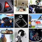 collage of car interior details and transport attributes Stock Photo - Royalty-Free, Artist: ssuaphoto                     , Code: 400-06420991
