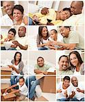 Attractive African American family and couple mother, father, son, man and woman at home having fun relaxing, eating, sitting, smiling, drinking wine, unpacking or packing boxes Stock Photo - Royalty-Free, Artist: darrenbaker                   , Code: 400-06421507