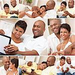 A happy African American man and woman couple in their thirties sitting at home, relaxing, drinking wine, playing video games and watching television Stock Photo - Royalty-Free, Artist: darrenbaker                   , Code: 400-06422333