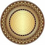 Decorative gold and brown frame with vintage round patterns on white (vector) Stock Photo - Royalty-Free, Artist: OlgaDrozd                     , Code: 400-06422810