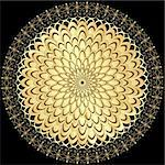 Decorative gold flower with vintage round patterns on black(vector) Stock Photo - Royalty-Free, Artist: OlgaDrozd                     , Code: 400-06423145
