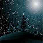 christmas night with new year's tree and snowflakes Stock Photo - Royalty-Free, Artist: BooblGum                      , Code: 400-06423407