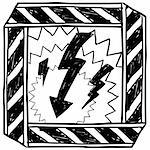 Doodle style electrical hazard or warning sketch in vector format. Stock Photo - Royalty-Free, Artist: lhfgraphics                   , Code: 400-06423871
