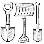 Doodle style shovel sketch in vector format. Set includes spade, snow shovel, and entrenching tool. Stock Photo - Royalty-Free, Artist: lhfgraphics                   , Code: 400-06423904