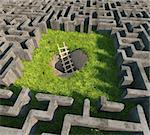tricky to get out of the maze. 3D concept Stock Photo - Royalty-Free, Artist: vicnt                         , Code: 400-06424081