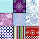 Collection seamless christmas colorful patterns (vector) Stock Photo - Royalty-Free, Artist: OlgaDrozd                     , Code: 400-06424727