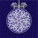 Xmas blue ball with round vintage floral pattern (vector) Stock Photo - Royalty-Free, Artist: OlgaDrozd                     , Code: 400-06424860