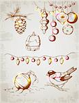 Hand drawn vector vintage Christmas decorations for design Stock Photo - Royalty-Free, Artist: Artspace                      , Code: 400-06425200