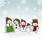 Snowman Family - Christmas Illustration, Vector Stock Photo - Royalty-Free, Artist: derocz                        , Code: 400-06425393