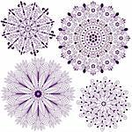 Collection new christmas dark violet snowflakes  isolated on white (vector) Stock Photo - Royalty-Free, Artist: OlgaDrozd                     , Code: 400-06425494