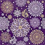 Christmas dark violet seamless pattern with white and gold vintage snowflakes (vector) Stock Photo - Royalty-Free, Artist: OlgaDrozd                     , Code: 400-06425561