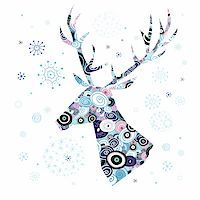 Winter card with decorative deer head on a white background with snowflakes Stock Photo - Royalty-Freenull, Code: 400-06425886