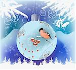 Christmas theme vector illustration with bullfinch and ashberry drawn on decoration ball, snowflakes, christmas tree and bells Stock Photo - Royalty-Free, Artist: KatSov                        , Code: 400-06426403