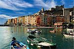 The harbor with small boats and colorful houses of Portovenere in Liguria Italy Stock Photo - Royalty-Free, Artist: catalby                       , Code: 400-06426761