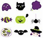 Halloween seasonal icons. Vector cartoon Stock Photo - Royalty-Free, Artist: lordalea                      , Code: 400-06426917