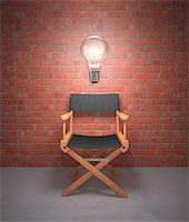 Lamp lit up on the director's chair. Stock Photo - Royalty-Freenull, Code: 400-06427178