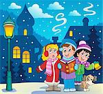 Christmas carol singers theme 3 - vector illustration. Stock Photo - Royalty-Free, Artist: clairev                       , Code: 400-06427243