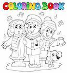 Coloring book carol singing theme 1 - vector illustration. Stock Photo - Royalty-Free, Artist: clairev                       , Code: 400-06427252
