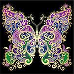 Decorative fantasy gold and colorful vintage butterfly on black(vector) Stock Photo - Royalty-Free, Artist: OlgaDrozd                     , Code: 400-06427854
