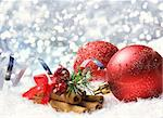 Christmas background with cinnamon, snow, ribbon and baubles Stock Photo - Royalty-Free, Artist: kirstypargeter                , Code: 400-06427929