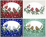Set of Christmas card in different color. Fully editable EPS 8 vector illustration. Stock Photo - Royalty-Free, Artist: angelp                        , Code: 400-06428237