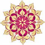 Christmas gold and purple snowflake on white (vector) Stock Photo - Royalty-Free, Artist: OlgaDrozd                     , Code: 400-06428528