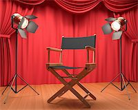 Director's chair on the stage illuminated by floodlights. Stock Photo - Royalty-Freenull, Code: 400-06428795