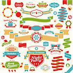 Christmas set - colorful ribbons, labels and other decorative elements. Vector illustration. Stock Photo - Royalty-Free, Artist: avian                         , Code: 400-06428809