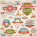 Christmas vintage set - labels, ribbons and other decorative elements. Vector illustration. Stock Photo - Royalty-Free, Artist: avian                         , Code: 400-06428813