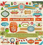 Christmas set - vintage ribbons, labels and other decorative elements. Vector illustration. Stock Photo - Royalty-Free, Artist: avian                         , Code: 400-06428814