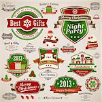Christmas vintage set - labels, ribbons and other decorative elements. Vector illustration. Stock Photo - Royalty-Free, Artist: avian                         , Code: 400-06428881
