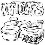 Doodle style leftovers in plastic containers illustration from holiday meals and text message.  Vector format. Stock Photo - Royalty-Free, Artist: lhfgraphics                   , Code: 400-06429007