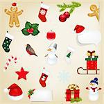 Big Set Christmas Icons With Gradient Mesh, Vector Illustration Stock Photo - Royalty-Free, Artist: adamson                       , Code: 400-06429143