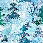 Winter seamless  pattern with stylization transparent snowflakes, trees and butterflies (vector EPS 10) Stock Photo - Royalty-Free, Artist: OlgaDrozd                     , Code: 400-06429692