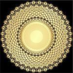 Decorative gold and brown round vintage frame  on black (vector) Stock Photo - Royalty-Free, Artist: OlgaDrozd                     , Code: 400-06429711