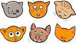Cartoon Illustration of Different Happy Cats ot Kittens Heads Collection Set Stock Photo - Royalty-Free, Artist: izakowski                     , Code: 400-06430505
