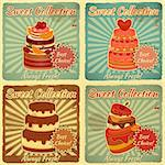 Set of Retro Cards with Cake. Vector Illustration. Stock Photo - Royalty-Free, Artist: elfivetrov                    , Code: 400-06431118