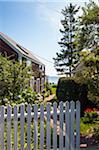 Waterfront House with White Picket Fence and View of the Ocean, Provincetown, Cape Cod, Massachusetts, USA