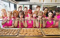 funny looking people - Women Wearing Devil Horns at a Bakery, Oakland, Alameda County, California, USA Stock Photo - Premium Royalty-Freenull, Code: 600-06431359