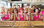 Women Wearing Devil Horns at a Bakery, Oakland, Alameda County, California, USA Stock Photo - Premium Royalty-Free, Artist: Mitch Tobias, Code: 600-06431359