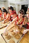 Women Wearing Devil Horns at a Bakery, Oakland, Alameda County, California, USA Stock Photo - Premium Royalty-Free, Artist: Mitch Tobias, Code: 600-06431390