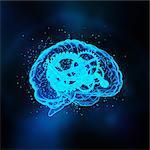 Glowing brain drawing with gears inside Stock Photo - Premium Royalty-Free, Artist: Cultura RM, Code: 6106-06433771