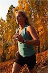 Woman running on trail thru aspens in fall Stock Photo - Premium Royalty-Freenull, Code: 6106-06434887