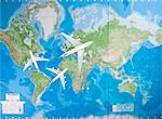 Model airplanes flying in different direction over world map Stock Photo - Premium Royalty-Free, Artist: Ikon Images, Code: 693-06435796
